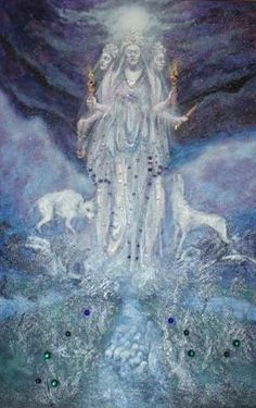 """The Triple Goddess can be found in almost all mythologies. She is at once virgin, mother, and crone, the waxing, full, and waning moons. She represents all that is feminine, enchanting, ripe, and wise. In the ancient mystery traditions, the Triple Goddess was associated with water, weaving and war. Some of the best examples of her threefold nature can be found in Greek, Celtic, and Norse mythology. Art: """"Hecate"""" - by Kay Steventon"""