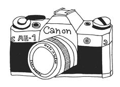 Kate Sutton /// Canon AE-1 Photography Camera, Photography Backdrops, Camera Drawing, Vader Star Wars, Love Illustration, Design Art, How To Draw Hands, Doodles, Silhouette Cameo
