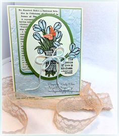 """Stampin' Up!  Love Is Kindness, Spring Flowers TIEF, Painted Bloom DSP, Typeset SDSP, Ovals framelits, 1 3/8"""" circl punch, Painted Blooms bakers twine, Blendabilities, Beautiful Wings embosslit,"""