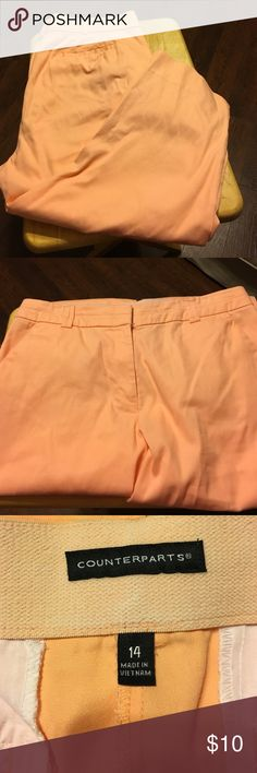 Orange sherbet This capris are a light orange and have a slightly stretchy waistband.  Perfect for fall Counterparts Pants Capris
