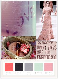 Love colorboard: sockeye pink, licorice, smoke, menthe, soft pink.