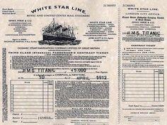 Billete de tercera clase del Titanic para su primer y único viaje, partió el 10 de abril de 1912 #Historia