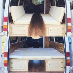 Paneling and benches varnished ✔️bench exterior access doors put in ✔️ cushions sized and cut✔️ And tonight will be spent upholstering our… Vw Bus Camping, Auto Camping, Truck Bed Camping, Van Camping, Camping Snacks, Camping Breakfast, Camping Signs, Camping Crafts, Camping Survival