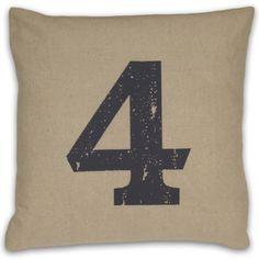 Numeral 4 Linen Throw Pillow