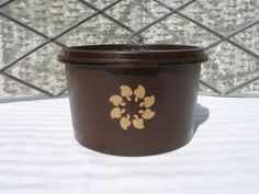 vintage brown TUPPERWARE canister with spade design Retro Tupperware ...