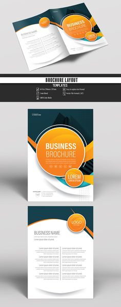 Brochure Cover Layout with Orange Accents. Buy this stock template and explore similar templates at Adobe Stock Brochure Layout, Brochure Design, Brochure Template, Flyer Template, Flyer Design, Brochure Ideas, Leaflet Design, Booklet Design, Graphic Design Templates