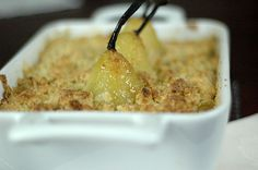 Vanilla Poached Pear and Apple Crumble. And it has macadamia nuts too! #swoon #TheOrgasmicChef