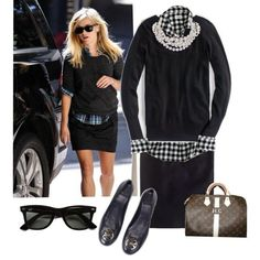 black pencil skirt  black sweater and black check button down w multistrand pearl necklace