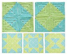 Different designs using 2 color granny square