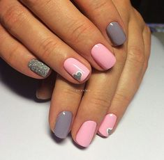 Sweet grey and pink manicure with glitter and more - LadyStyle