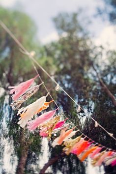 Ribbon tassels as an alternative to pennants; sweet and easy.