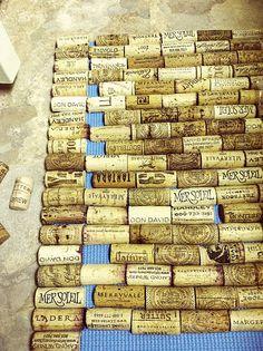 corks cut in half lengthwise + old yoga mat + gorilla glue = wine cork bath mat