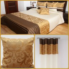 Luxusní dekorační set do ložnice béžovo-hnědé barvy se zlatými ornamenty - dumdekorace.cz Curtains, Furniture, Home Decor, Blinds, Decoration Home, Room Decor, Home Furnishings, Draping, Home Interior Design