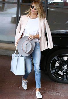 Thanks theyre new - Gazelle Adidas - Ideas of Gazelle Adidas - Rosie Huntington-Whiteley in grey adidas Gazelle trainers jeans tee blazer and a hat Adidas Gazelle Outfit, Adidas Outfit, Adidas Gazelle Women, Rosie Huntington Whiteley, Fashion Mode, Star Fashion, Fashion News, Runway Fashion, Fashion Trends
