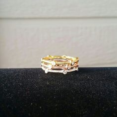 NWOT Tri-Color Stackable Rings These are brand new, never worn, sterling silver stackable rings. They each have cubic zirconia accent stones. They have rhodium, 14k gold, and 14k rose gold plating. These are adorable worn together or alone. I do have these rings in size 6 and 7 available. Jewelry