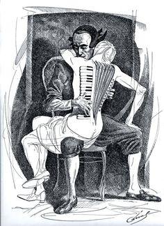 """Zeichnung von Michael Cheval mit dem Titel """"Harmonica 2"""".  Er ist Spezialist für absurde Gemälde, Zeichnungen und Porträts. Stichworte: #Accordion #Art #Drawing"""