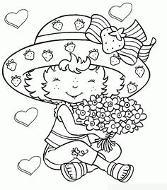 Cute Girl Valentine Coloring Pages