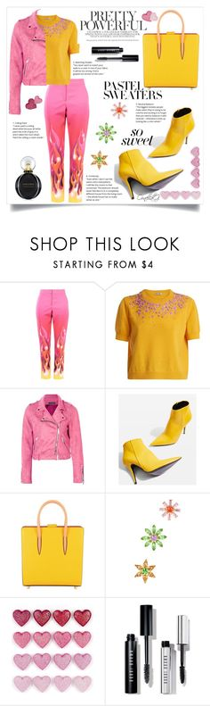 """Pink &yellow!"" by ornellag ❤ liked on Polyvore featuring Moschino, Miu Miu, Boohoo, Topshop, Christian Louboutin, CA&LOU, Bobbi Brown Cosmetics, Bulgari and pastelsweaters"