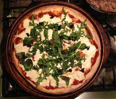 2.23/homemade pizza with fresh mozzarella, basil and arugula