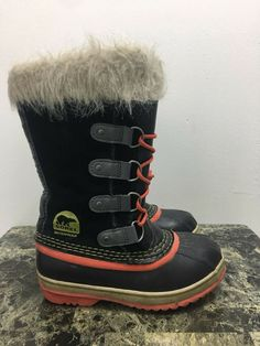 Sorel Joan Of Arctic Knit Girls Boots Navy Sparkle size US 2 NEW