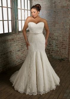 Graceful Sweetheart Lace Trumpet Mermaid Plus Size Bridal Wedding Gown Amr0003 $369.99 Plus Size Wedding Dresses
