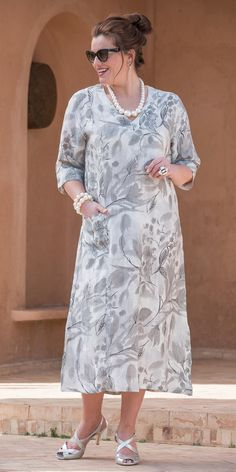 Kasbah silver linen printed dress