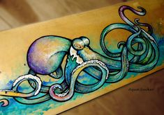Custom Skateboard Art - Octopus Painting - Made to order commission piece - Fine Art - FREE SHIPPING