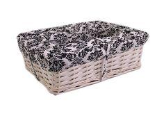 Wicker Basket White 3 Sizes - White & Black Lining Hamper Display Storage Willow