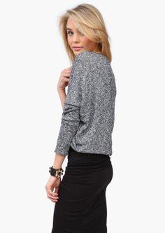 Grey Knit Sweater. Pencil Skirt
