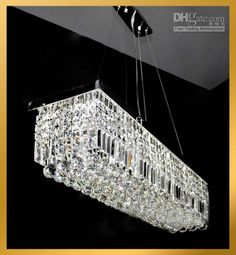 Wholesale Contemporary Clear Rectangular Crystal Pendant Lamp Hanging Chandelier Suspension Light Free Shipping 40304