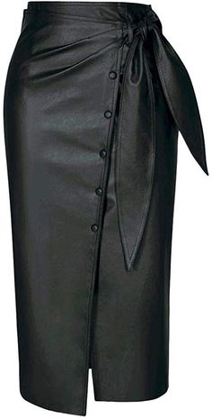 Top-Vigor Women Faux Leather Midi Skirt - High Waist Button-Down Pencil Skirt - Bodycon Business Office Skirt with Belt Khaki Faux Leather Pencil Skirt, Leather Midi Skirt, Pencil Skirt Black, Black Leather Skirts, Denim Skirt, Mode Outfits, Stylish Outfits, Fashion Outfits, Fashion Goth