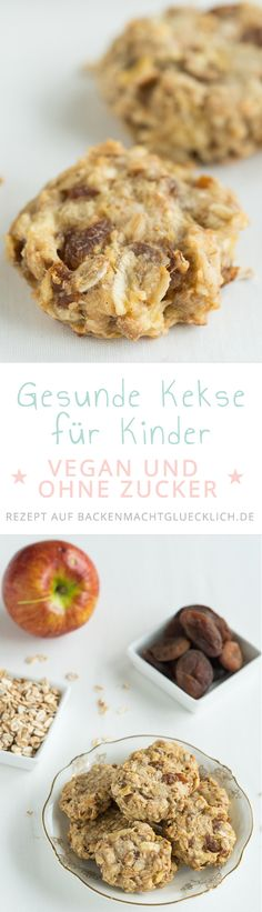Gesunde Kinder-Kekse ohne Zucker Delicious healthy kids biscuits without sugar, egg, butter and milk. They are really nice fruity, soft and at the same time pithy. Also for adults great vegan clean eating cookies! Delicious Cookie Recipes, Baby Food Recipes, Sweet Recipes, Snack Recipes, Yummy Food, Milk Recipes, Healthy Recipes, Vegan Sweets, Healthy Sweets