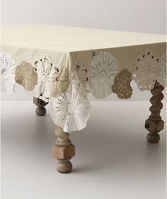 Vintage doily edged tablecloth