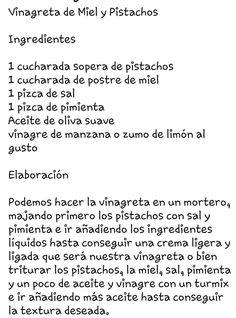 Vinagreta de miel y pistachos