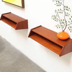 Danish Modern Aksel Kjersgaard Teak Floating Shelf Nightstand Tables Mid Century | eBay