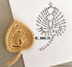 ideas crochet jewelry diagram ideas for 2019 Crochet Leaf Patterns, Crochet Leaves, Crochet Motifs, Crochet Diagram, Crochet Chart, Crochet Squares, Crochet Doilies, Crochet Flowers, Crochet Stitches