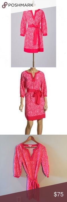 """•Lilly Pulitzer• 100% Silk Anya Dress Border Pink Lilly Pulitzer 100% Silk Anya Dress Border Pink Salmon Elite Status. In Excellent Used Condition. Printed Silk Dress with V Neck and Solid Waist Tie for a Feminine Silhouette. 3/4 Length Sleeves, Cuffs, Fully Lined, Ornate Buttons at Cuffs. Retail: $298.00. When Laying Flat: Bust Measures Approximately 18"""" Across, Length 36"""" Lilly Pulitzer Dresses"""