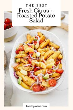 This roasted potato salad recipe is different than the classic potato salad you're used to. This version is fresh with the addition of citrus, and is so flavorful! #potatosalad #recipe #foodbymaria Side Salad Recipes, Healthy Salad Recipes, Side Dish Recipes, Lunch Recipes, Vegetarian Recipes, Free Recipes, Healthy Food, Roasted Potato Salads, Roasted Potatoes