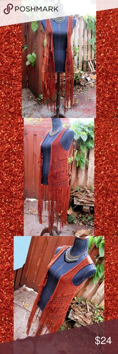 Crochet Knitted Long Boho Fringe Vest Sz XS Hippie Ultra adorable long fringe open-knit crochet vest by Xhilaration, size XS. Although it's labeled an XS, most sizes can wear it. I usually wear between a M-XL and still even fits me! Perfect bohemian hippie accessory! It's a deep orange/orange-ish brown color.   From a smoke-free home. Xhilaration Tops