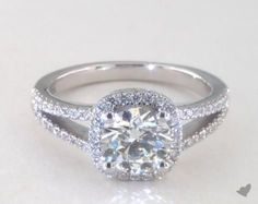 50133 engagement rings, halo, 14k white gold cushion halo split shank diamond engagement ring item - Mobile
