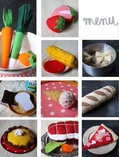 Dînette en feutrine Felt Patterns, Kids Patterns, Felt Play Food, Pretend Food, Food Stands, Project, Food Crafts, Kids Corner, Diy Toys