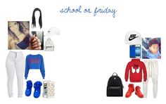 """school on friday"" by royaltynae ❤ liked on Polyvore featuring MCM, Topshop, NIKE, Kate Spade and DRKSHDW"