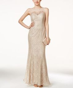 Xscape Sleeveless Illusion Beaded & Lace Gown $189.99 This sumptuous dress by Xscape is party-perfect or ready for your next event. Pair it with blush heels and a clutch to take on the night.