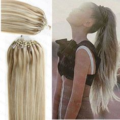 """#18/613 Remy Human Hair Extensions 100S 16""""-26"""" Micro Loop Ring/Beads Omber"""