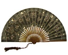 Antique Fan, Large Black Hand Painted Silk and Wood with Hand Sewn Sequins