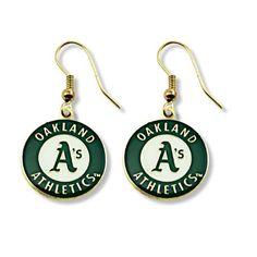 5e787b1b144631 MLB Oakland Athletics Logo Dangler Earrings