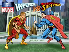 Hyperion vs Superman by Drake, Arte Drake, Marvel Vs, Crossover, Superman, Comic Art, Characters, Comics, City, Superhero