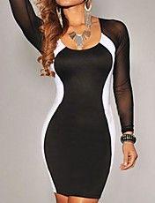 Women's Black White Hourglass Mesh Long Sleev... – USD $ 16.09
