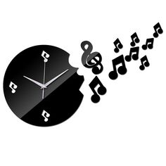 Musical notes Acrylic wall clock modern design luxury mirror Quartz clocks 3d rushed crystal watches Living Room