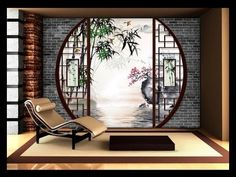 Wall Decor Asian Style Custom Wallpaper Tapestry Digital Measuring Zen Landscape- Chinese Traditional Garden Source by atelierwybo Japanese Home Design, Japanese Tea House, Japanese Home Decor, Japanese Modern, Japanese Style, Chinese Interior, Japanese Interior Design, Casa Dos Hobbits, Zen Interiors